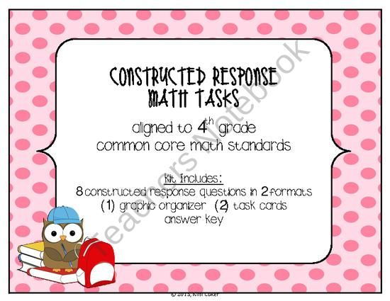 4th Grade CCSS Constructed Response Math Tasks Compare