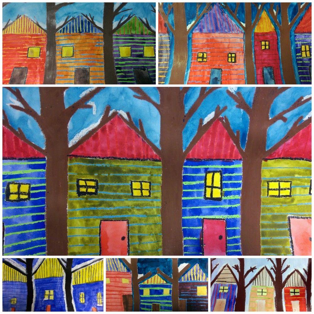 Talot ja puut - liitu ja vesiväri yhdistelmätyö.