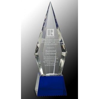 "Our Crystal Spear Trophy features a clear crystal spear for engraving personalization mounted on a blue crystal base. The CRY533S is 9.5"" tall & weighs 5 lbs, while the CRY533L is 11"" tall & weighs 7 lbs. Both sizes come in a deluxe gift box, include free engraving & free shipping!"