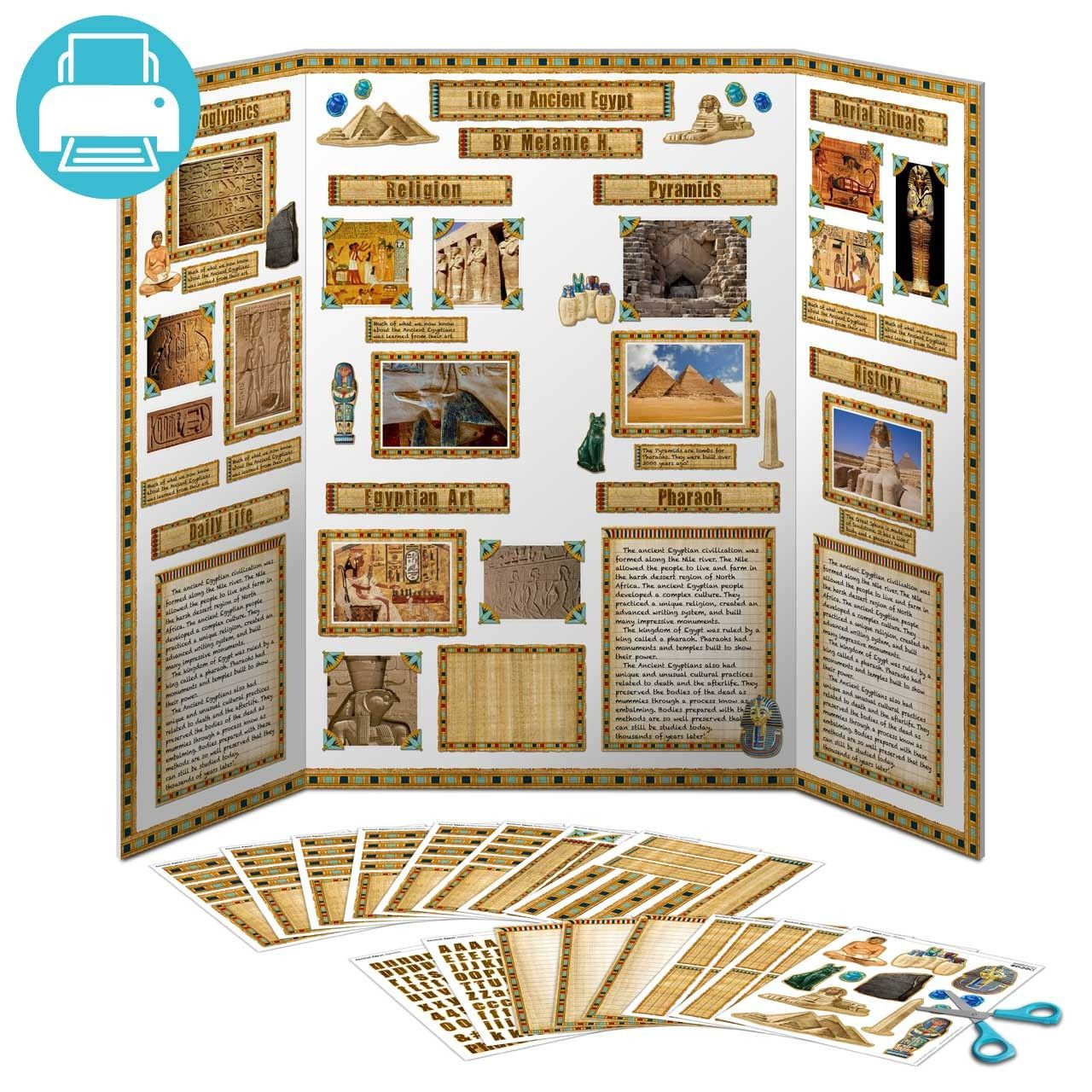 School Project Printables Ancient Egypt Large Poster Decorations Printable Decorations For An Entire Tri Fold Poster Including Titles Writing Paper