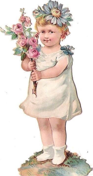 Oblaten Glanzbild scrap die cut chromo Blumen Kind flower child Baby bebe girl: