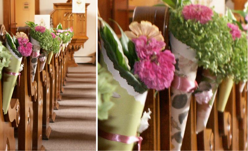 Chruch flowers wedding pinterest paper cones church ceremony pew ends in paper cones mightylinksfo