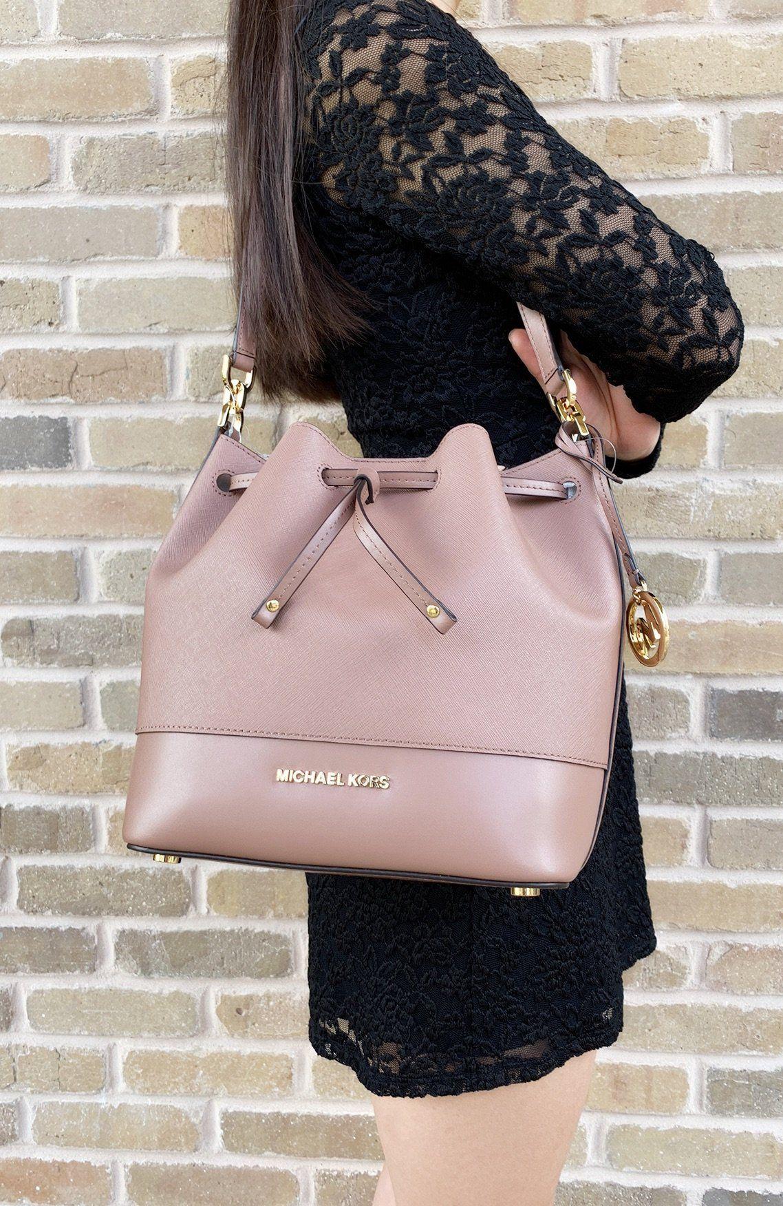 993790c2312c Michael Kors Trista Medium Bucket Bag Dusty Rose Saffiano Leather   poshcloset  poshpackages  mercariseller  poshboss  MK  ebayseller   amazonfashion  mercari ...