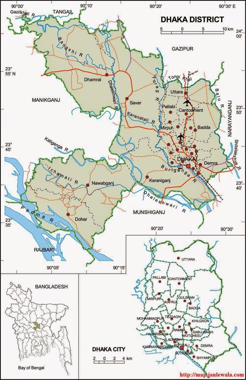 Dhaka Zila Map, Dhaka Division, Bangladesh | Dhaka ...