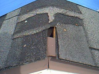 Defect Missing And Damaged Shingle Caps On Ridge Of Roof Observed