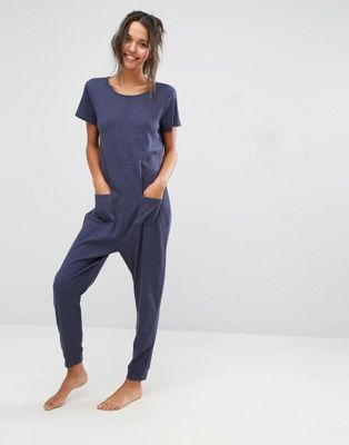 ea8eb374bd42 ASOS LOUNGE Ribbed Short Sleeve Jersey Jumpsuit Latest Fashion Clothes