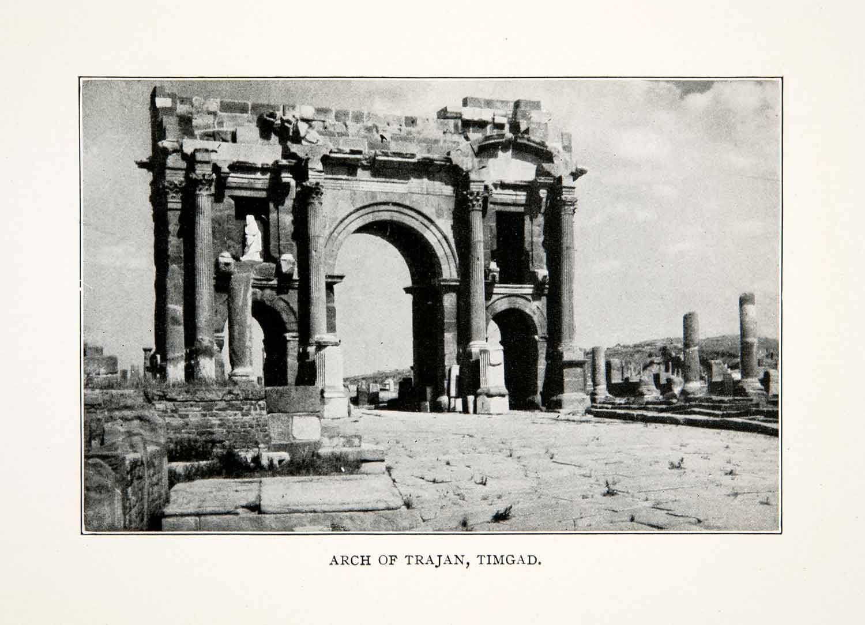 Print Arch Trajan Timgad Africa Roman Ruins Colonial