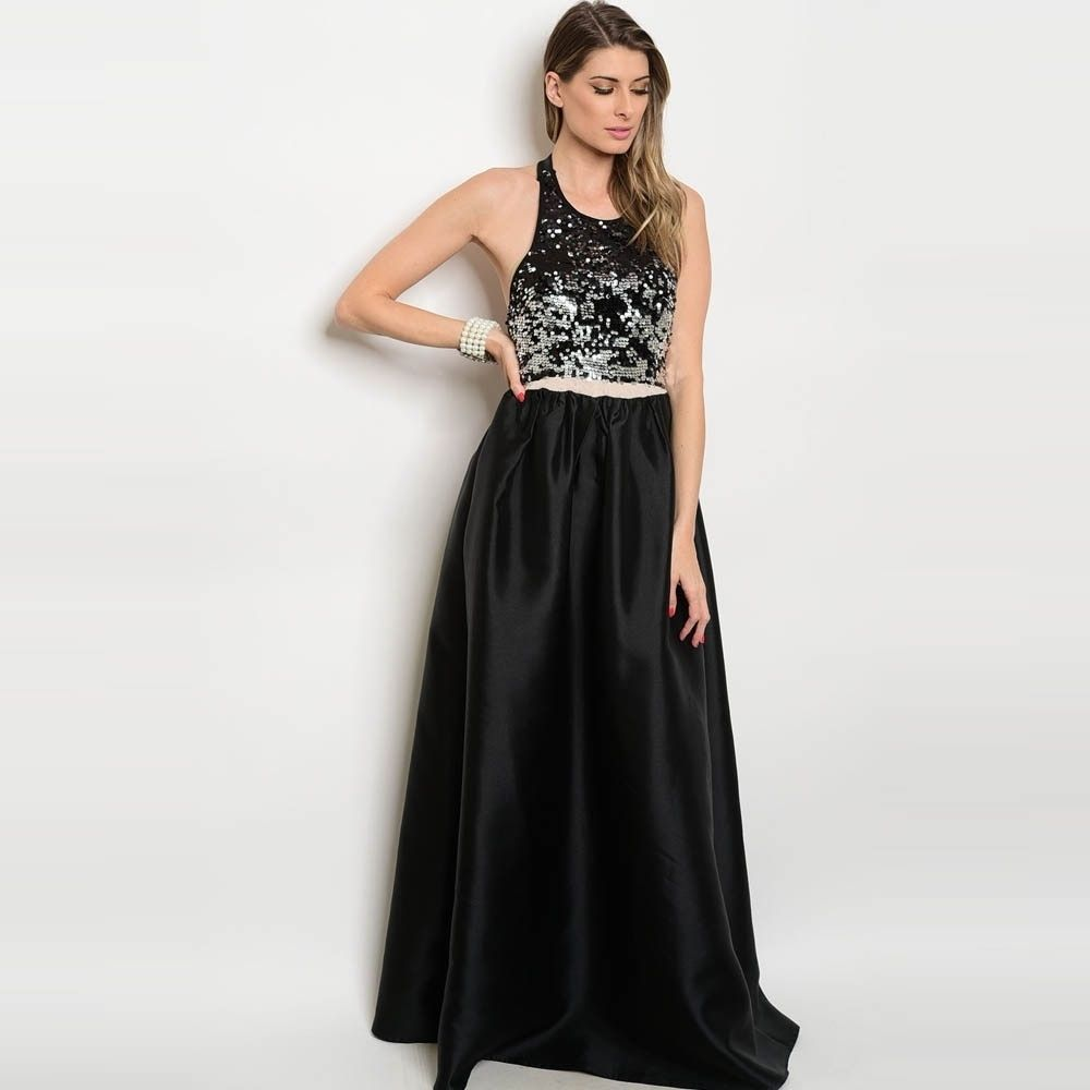 Shop the trends womenus sleeveless maxi gown with sequined bodice