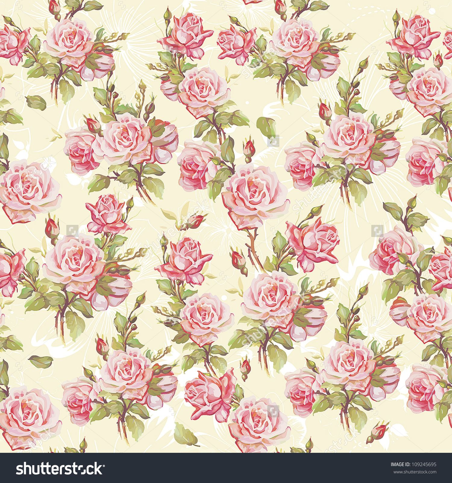 Pink Flowers Wallpaper: Classic Seamless Floral Background. Beautiful Flower