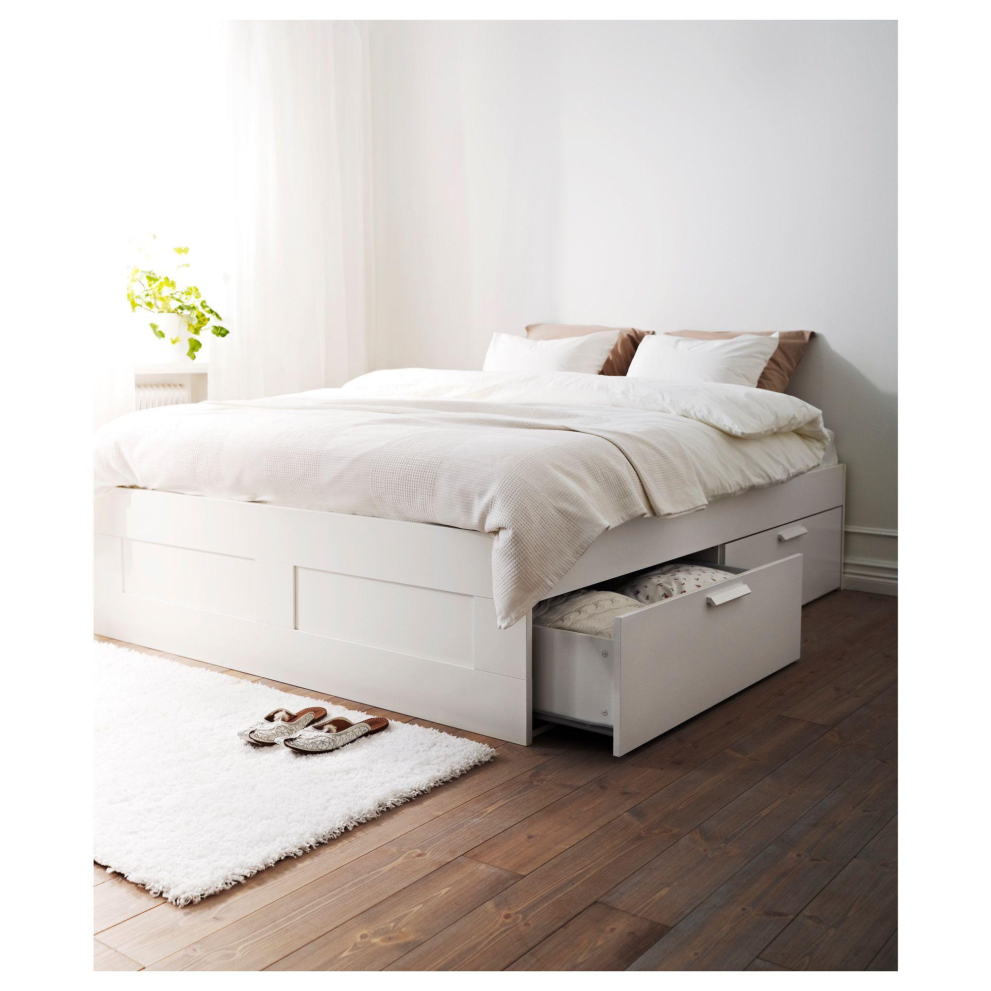 Brimnes Cadre Lit Avec Rangement Blanc Idées Aménagement