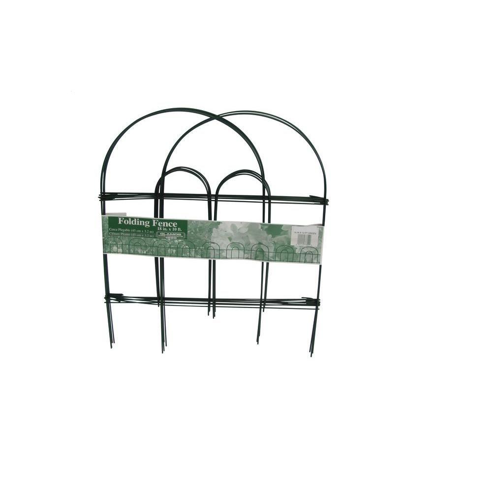null 18 in. x 10 ft. Green Folding Metal Wire Garden Fence | Garden ...