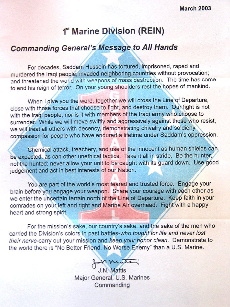 This letter General James Mattis wrote to his Marines is a must