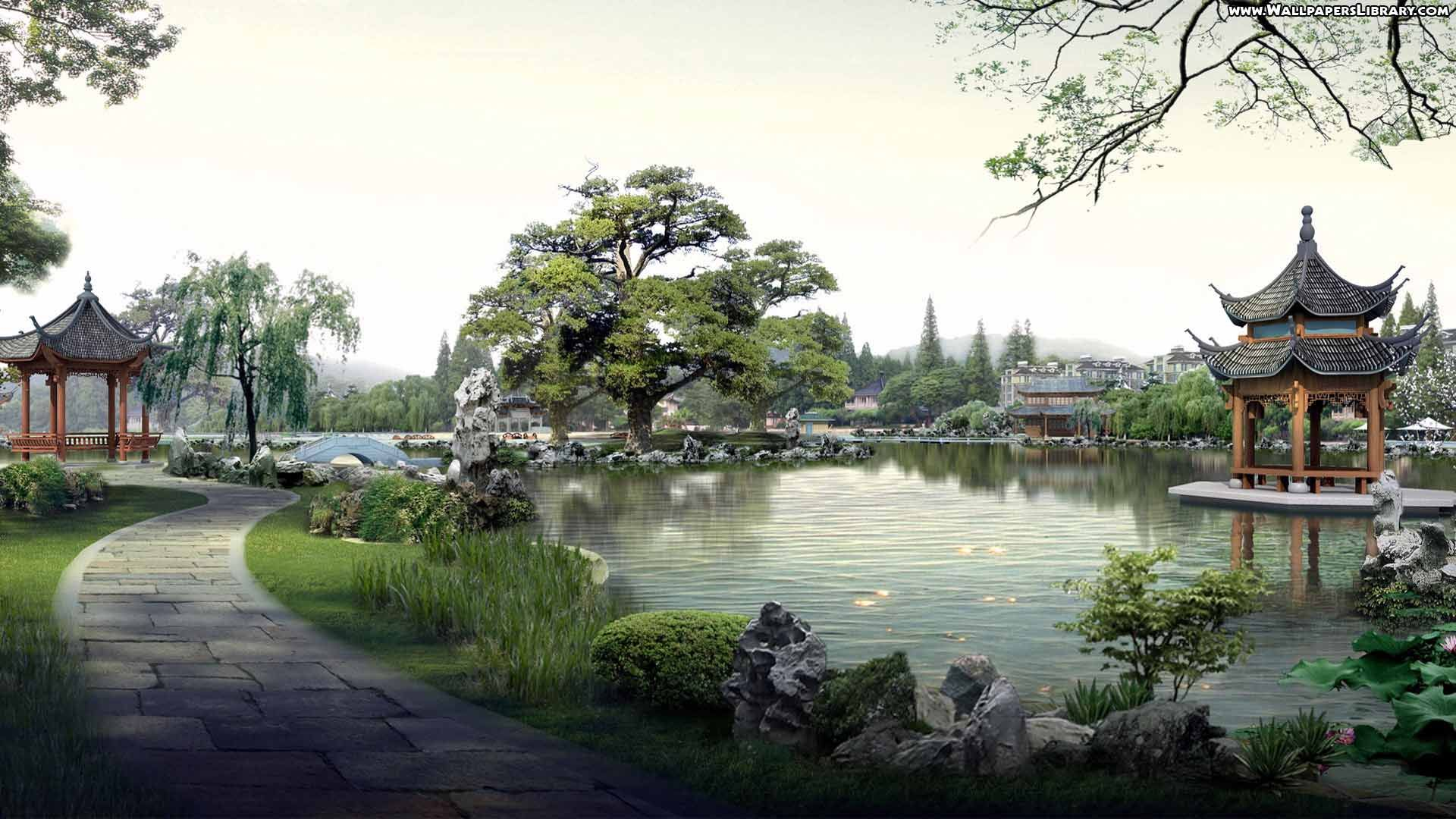 High Definition Japanese Village Wallpaper Ancient Modern