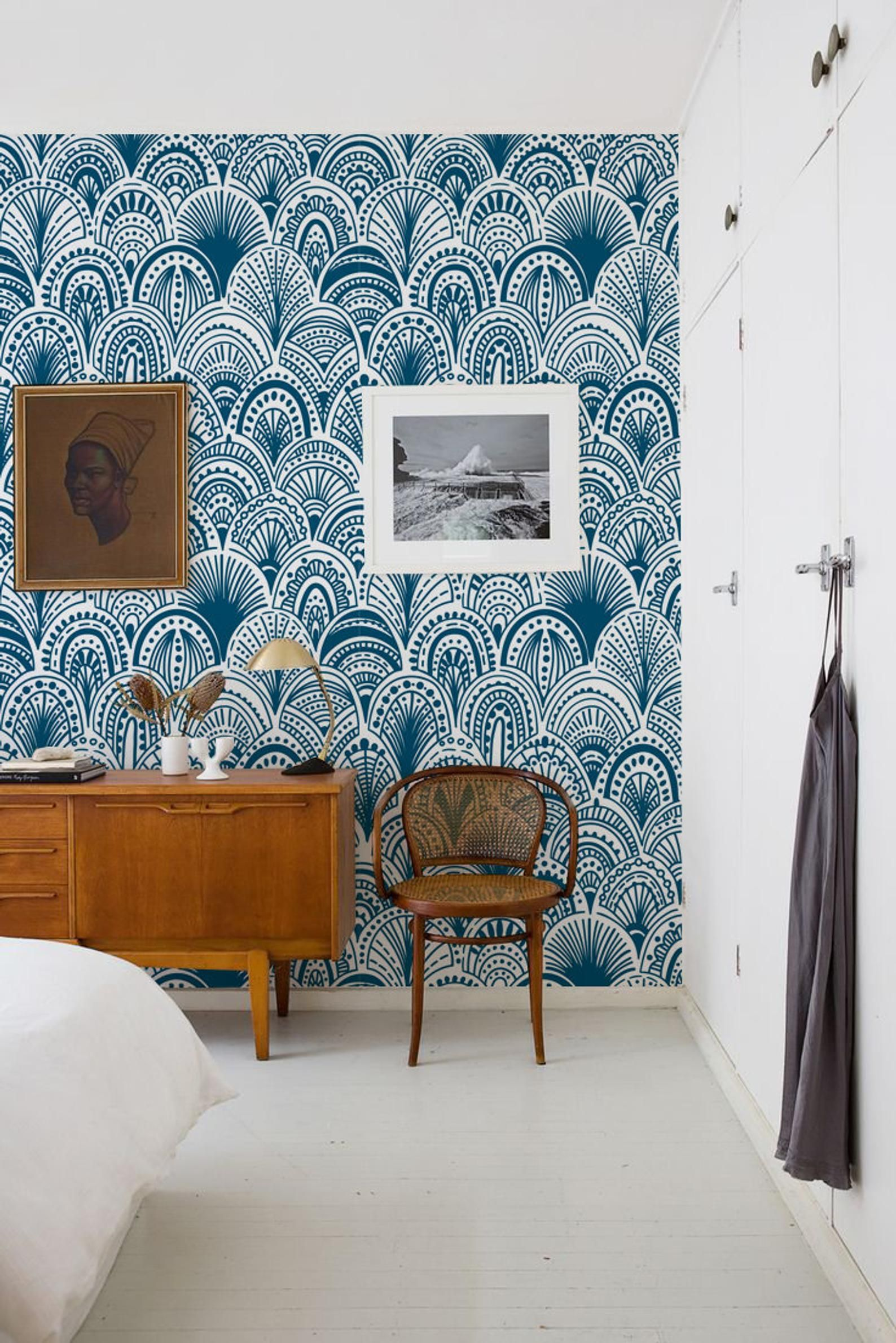 Blue Bohemian Removable Wallpaper Wall covering Wall