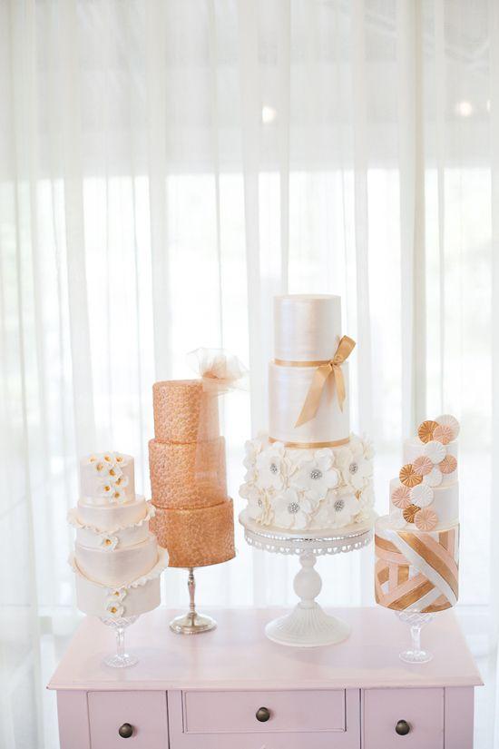 Luxe metallic finish cakes