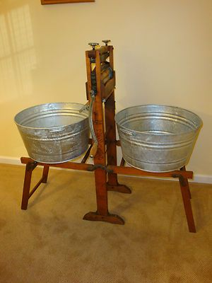 1901 Antique Clothes Wringer And Folding Bench Washstand W Tubs Best Made Brand Folding Bench Cool Things To Make Vintage Laundry