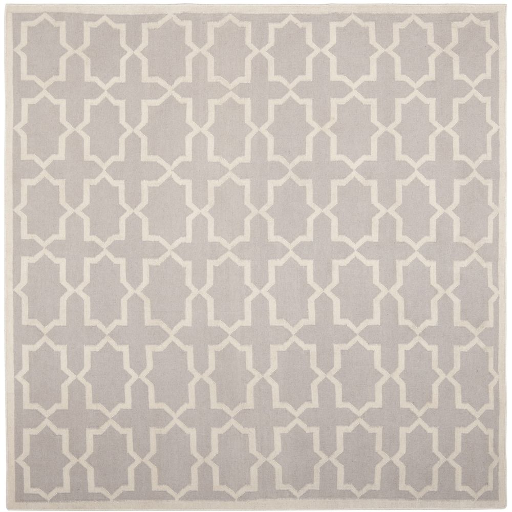 Hand Woven Moroccan Dhurrie Grey Wool Rug 6 Square