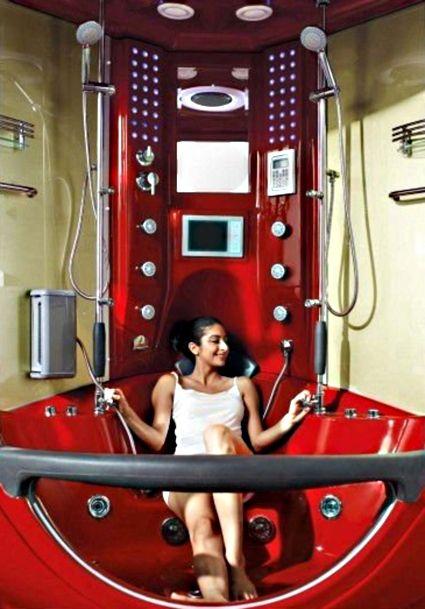 Wow crazy brand new red steam shower whirlpool bathtub for Crazy bathroom designs