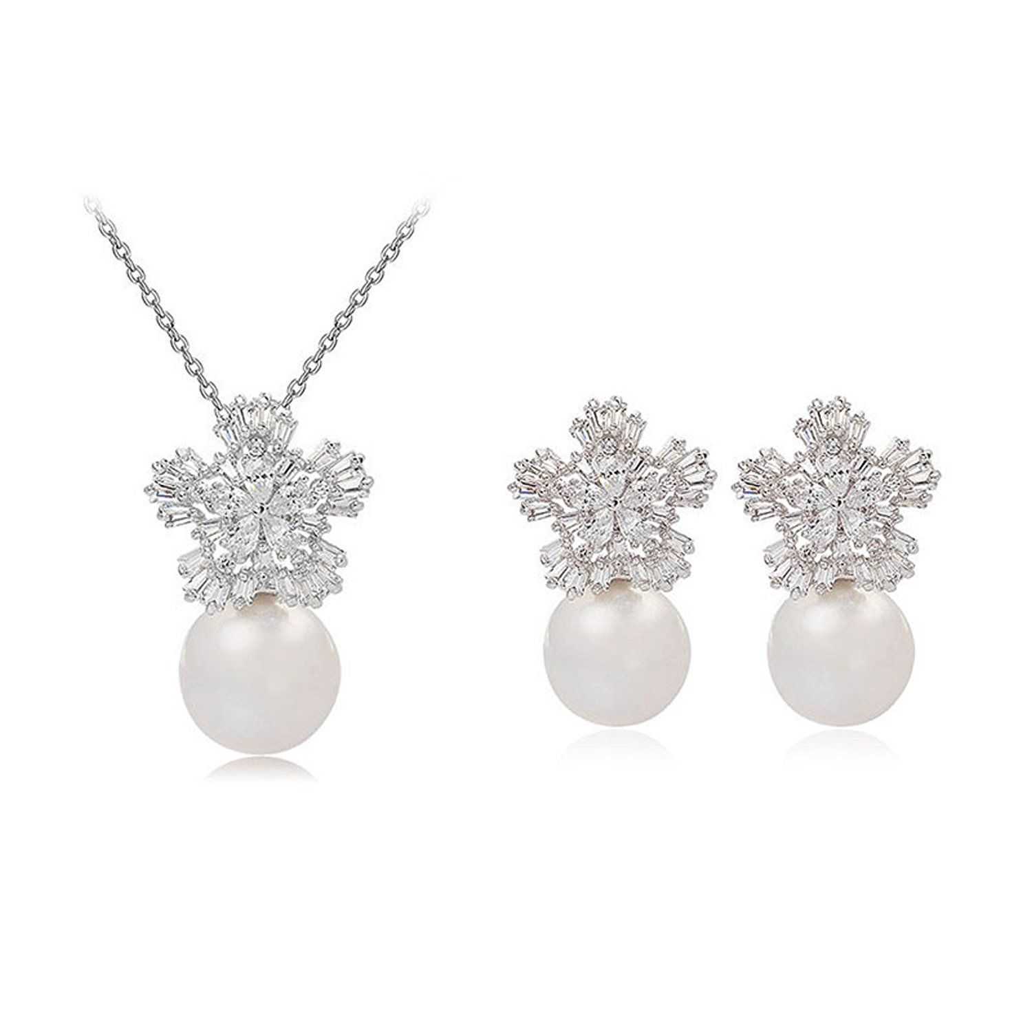 White gold plated simulated pearl with cubic zirconia flower stud