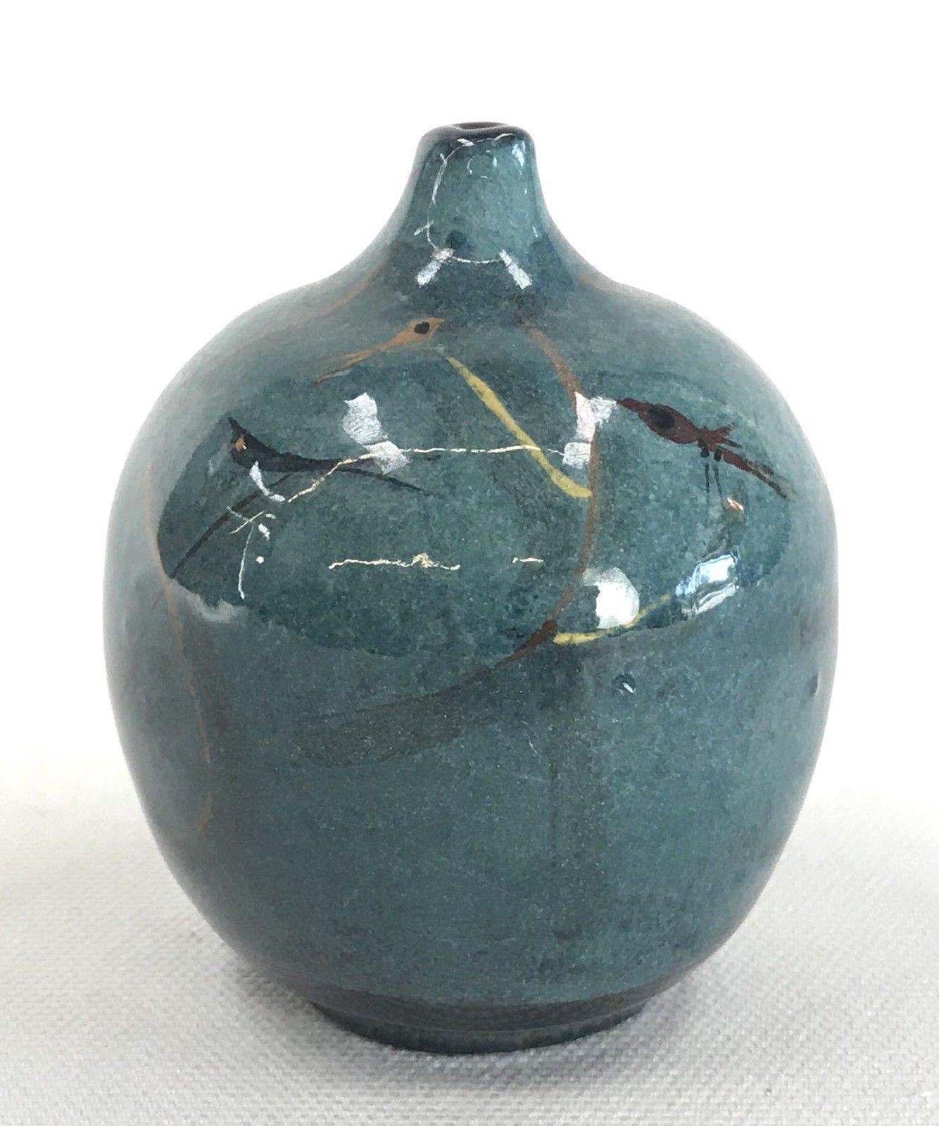VTG MCM Polia Pillin Art Pottery Teal Mini Bud Cabinet Vase
