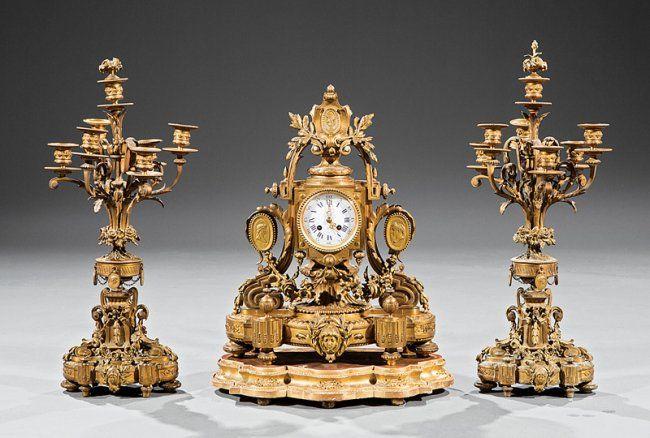 Beaux Arts Gilt Bronze Three-Piece Clock Garniture : Lot 259