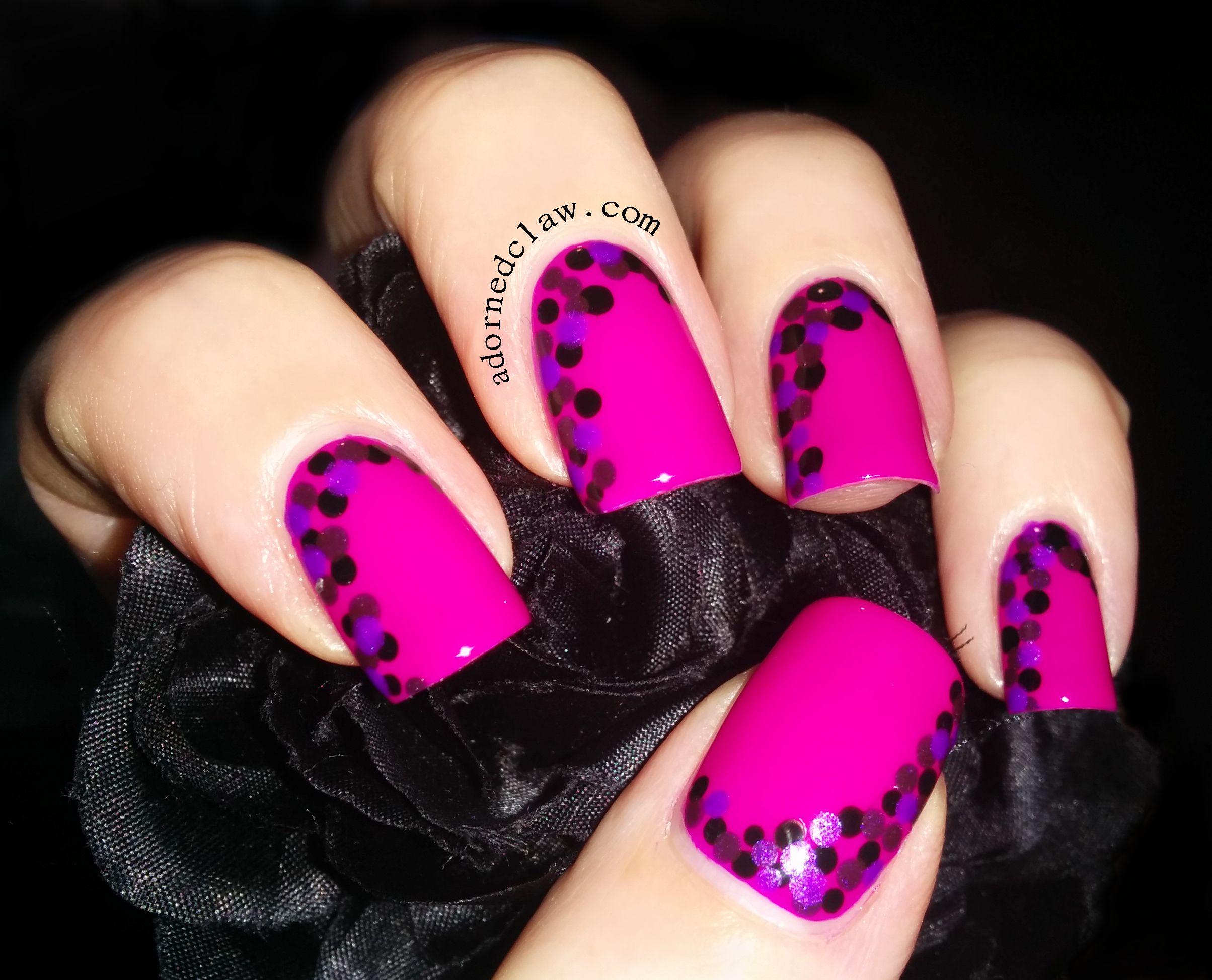 Nail art color violet - Ruby Wing Illamasqua Orly Dots Dotted Nail Art Pink Purple Black Prom Nailed It Pinterest Dot Nail Art