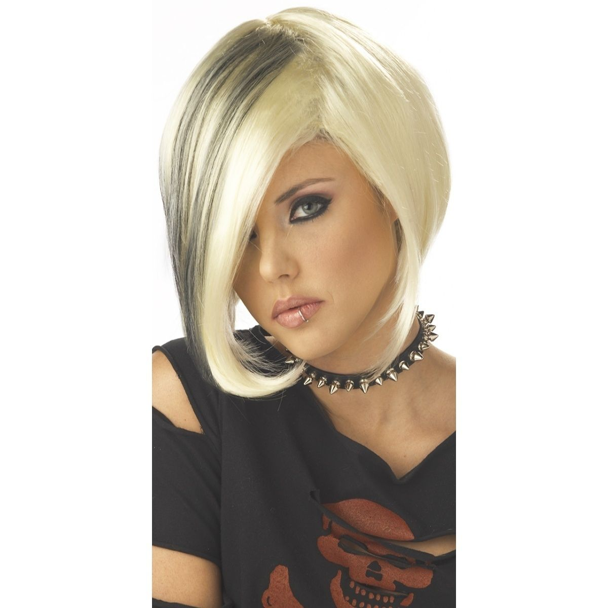 Mood swing costume wig adult womens short blonde punk w black