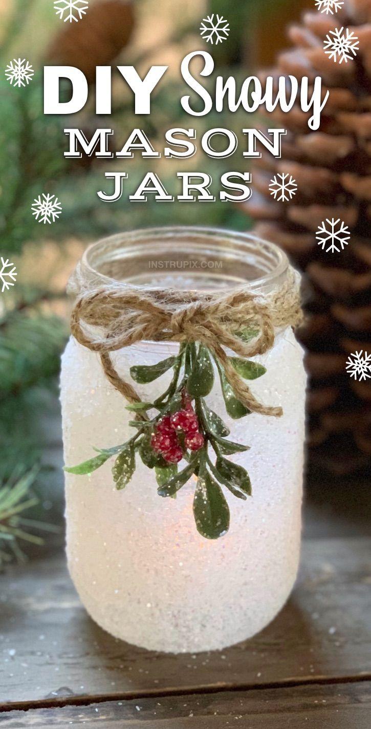 Diy Snowy Mason Jar Luminaries Mason Jar Christmas Crafts Christmas Mason Jars Christmas Jars