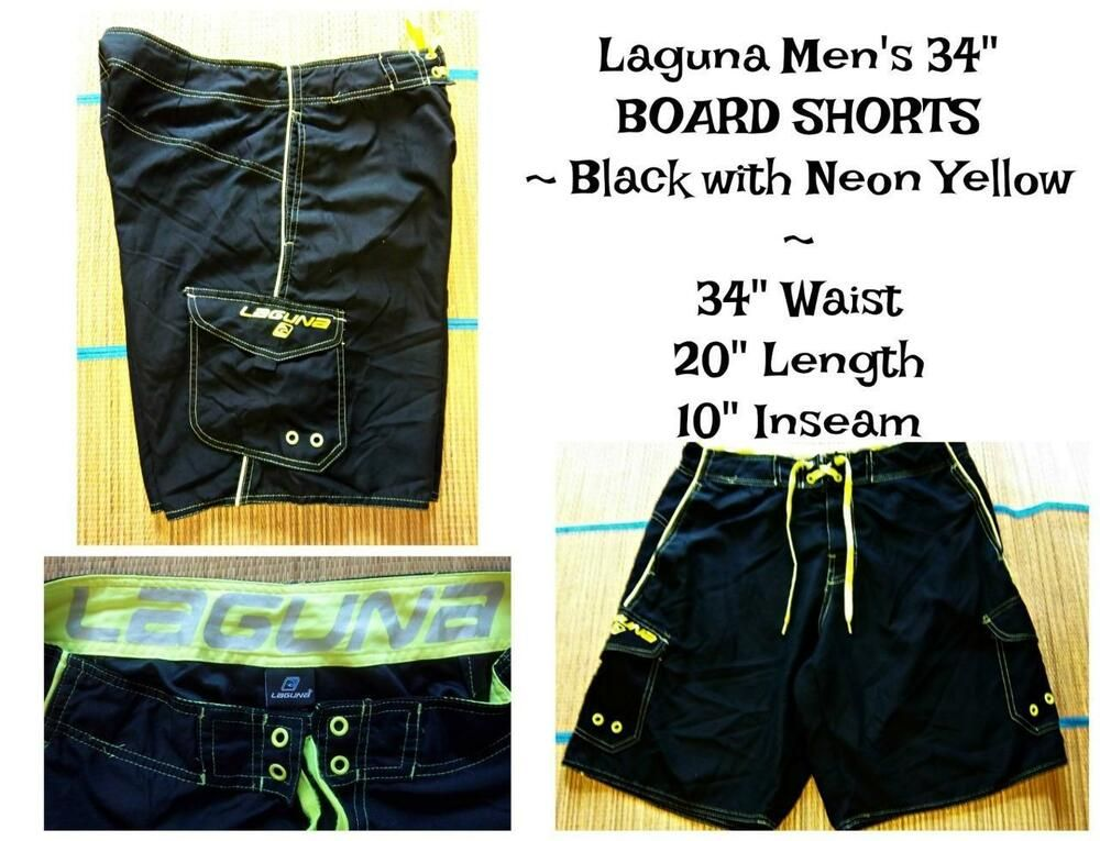 b5951d72e2 LAGUNA Men's Size 34 BOARD SHORTS SWIM TRUNKS Beach Pool BLACK NEON YELLOW  #Laguna #BoardShorts