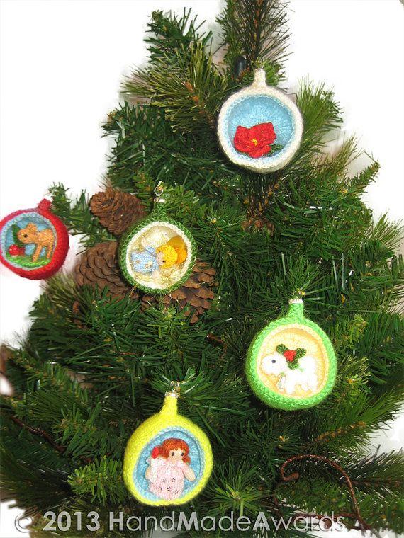 Christmas Decorations Knitting Patterns Dioramas Santa Ornaments
