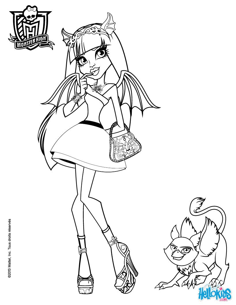 monster high rochelle gregory goyle with pets coloring page