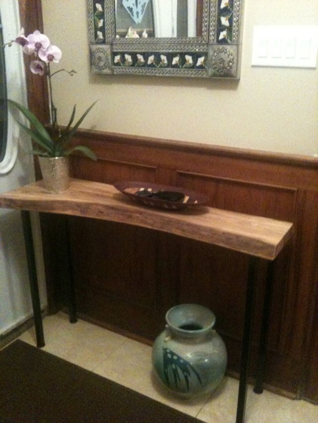 Solid Wood Salvaged And Reclaimed Raw Edge Console Tables
