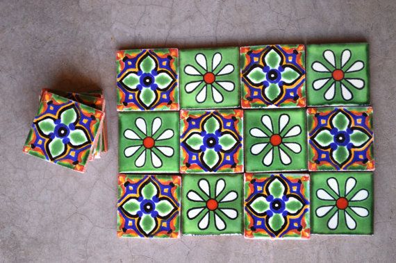 12 Mexican Talavera Tiles Handmade Hand Painted 2 X 2 Handmade Mexican Etsy