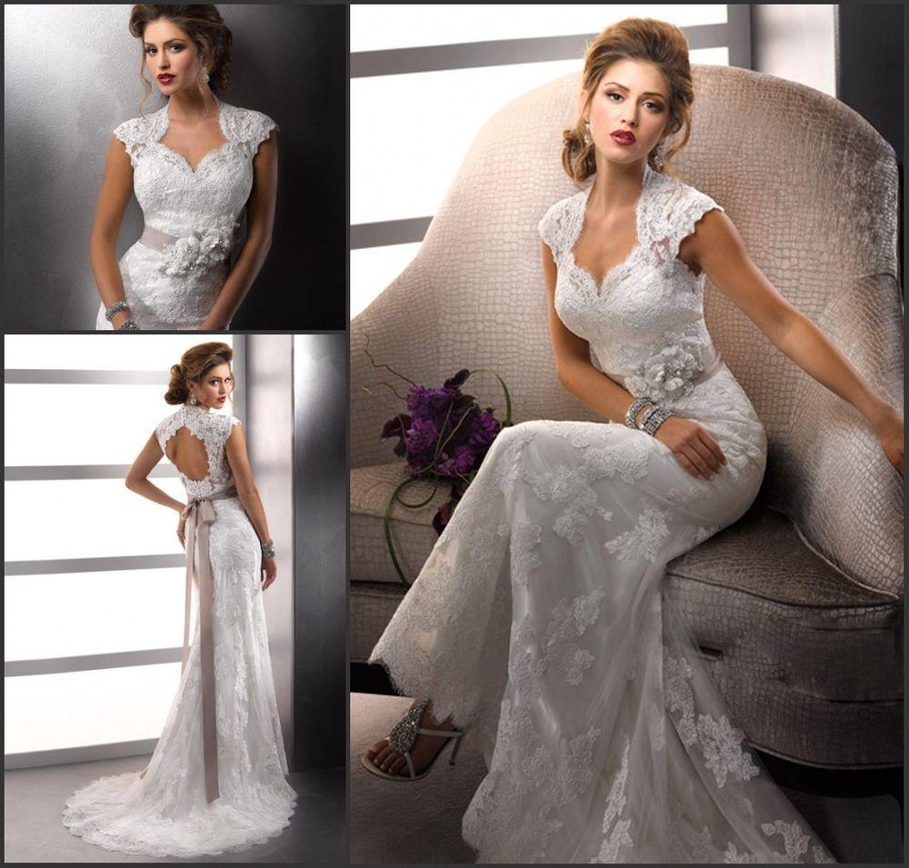 Weiß Spitze Hochzeitskleider Brautkleider Brautmode Gr.17 17 17 17