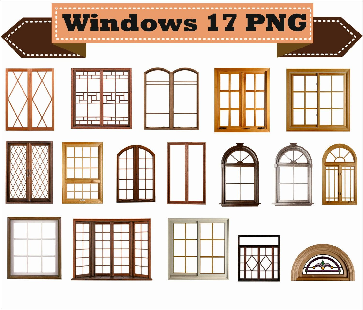 Window Windows Frame Photo Old Retro Classic Vintage Clipart Png Set Digital Files Transparent House Window Design House Furniture Plans Door And Window Design