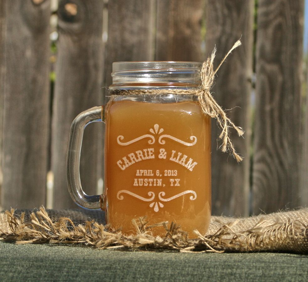 Etched Gl Mason Jar Gles Personalized Wedding Favors Drinking Mugs Rustic