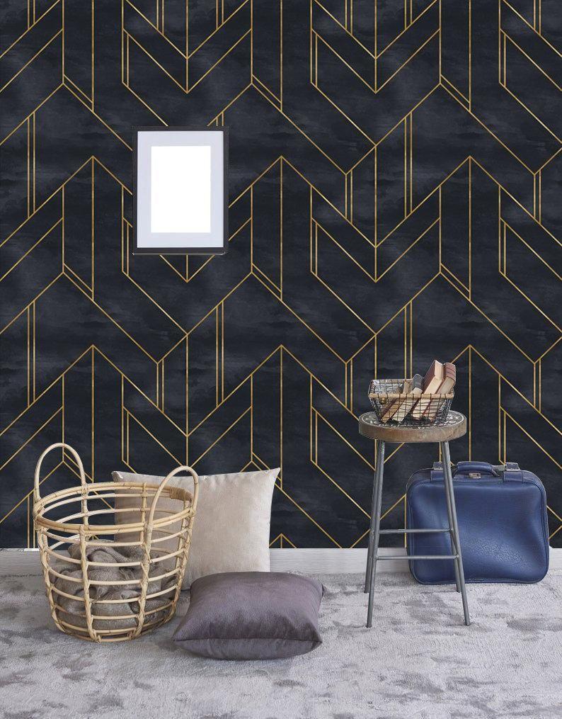 Removable Wallpaper Gold And Navy Blue Geometric Peel Stick Etsy Kjokken