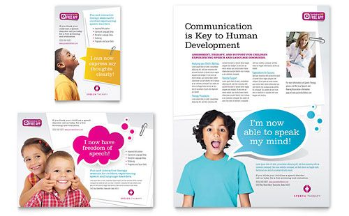 Speech Therapy Flyer  Word Template  Publisher Template