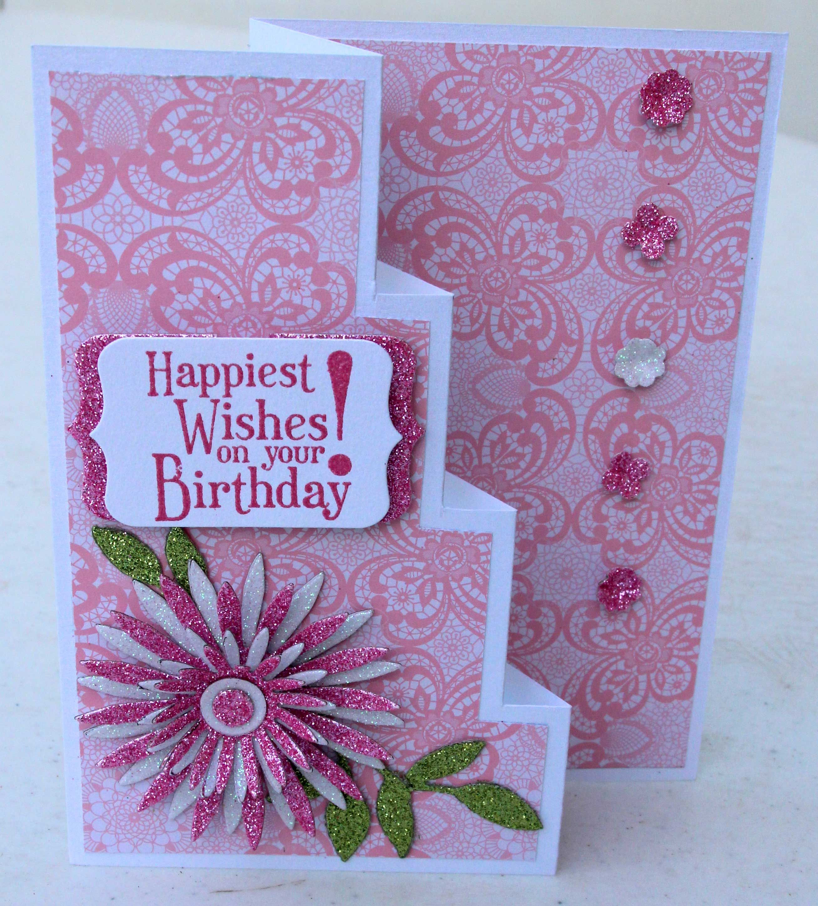 Birthday card made with su dies stamps punches paper and creative
