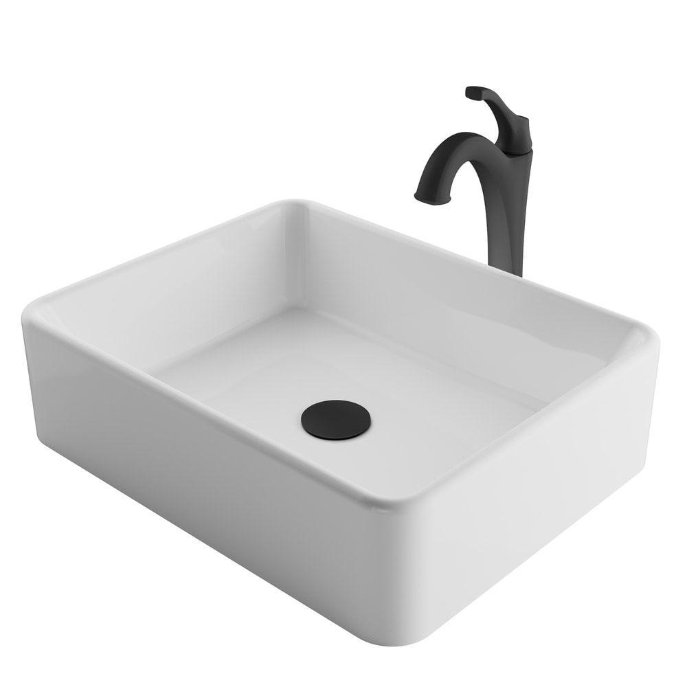 Kraus 3 In 1 Bathroom Set C Kcv 121 1200 White Ceramic Rectangle Vessel Sink Arlo 1 Hole Faucet Pop Up Drain 4 Finish In 2020 Vessel Sink Bathroom Sink Faucet