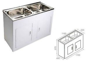 Double Laundry Trough Tub 45 Litre Stainless Steel Sink Cabinet
