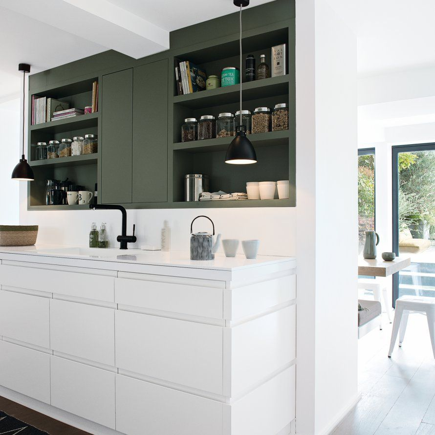 Une Cuisine Blanche Et Kaki Interior Spaces Pinterest Kitchen