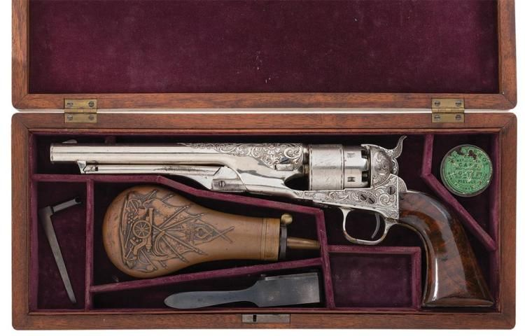Excellent Documented Cased, Factory Engraved Colt Model 1860 Army Revolver with Heavy Leaf Scroll Engraving