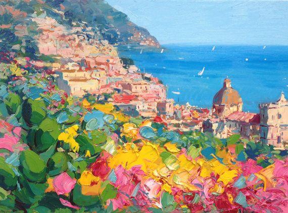 Positano Painting On Canvas Original Art Amalfi Coast Italy Etsy Italy Painting Seascape Paintings Italy Wall Art