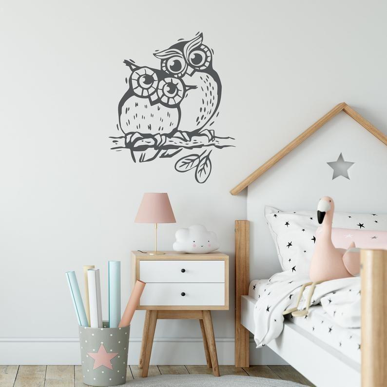 Owl Wall Decal Owls On Branch Wall Decor Nursery Wall Decals
