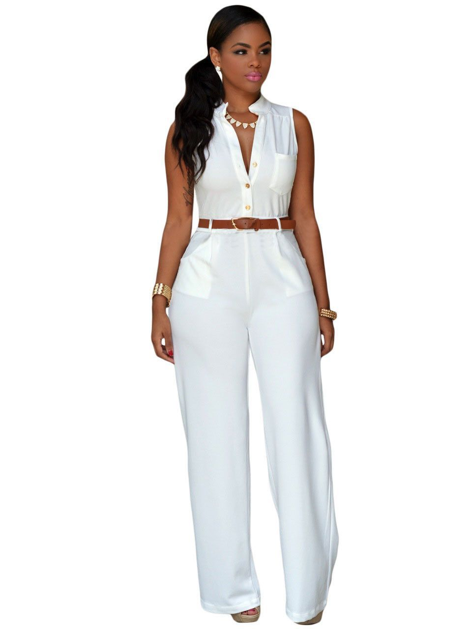 947332ae3283 Zkess Jumpsuit Long Pants Women Rompers Sleeveless 2XL V-neck 2016 Belt  Solid Sexy Night Club Elegant Slim Jumpsuits Overalls