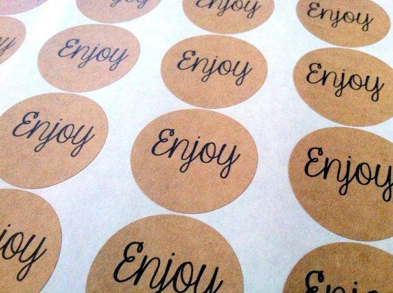 Kraft circle stickers enjoy stickers custom wedding sticker 24 count 1 5 8 labels