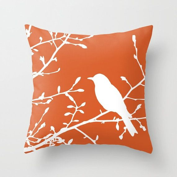Bird On Branch Pillow Cover Orange Decor Burnt Orange Etsy In 2021 Orange Decor Orange Pillows Orange Pillow Covers