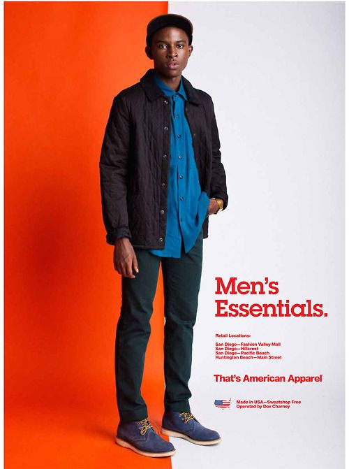 americanapparel:  The Quilted Twill Jacket. Rayon Long Sleeve Button-Up, Travel Pants and Chukka Boots. October 2013