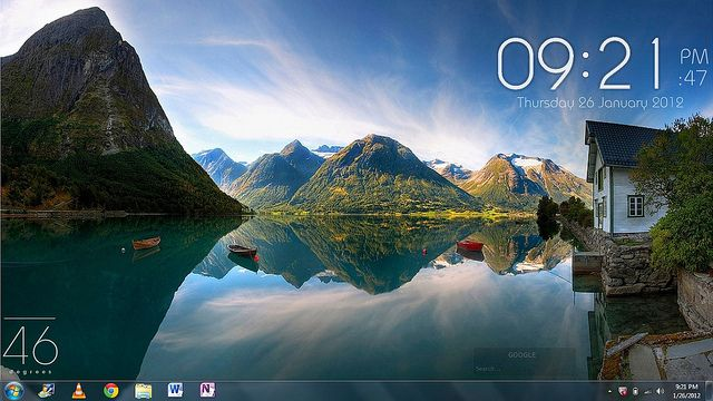 Love this trick--cloak your desktop icons and have a lovely scenery show full size.